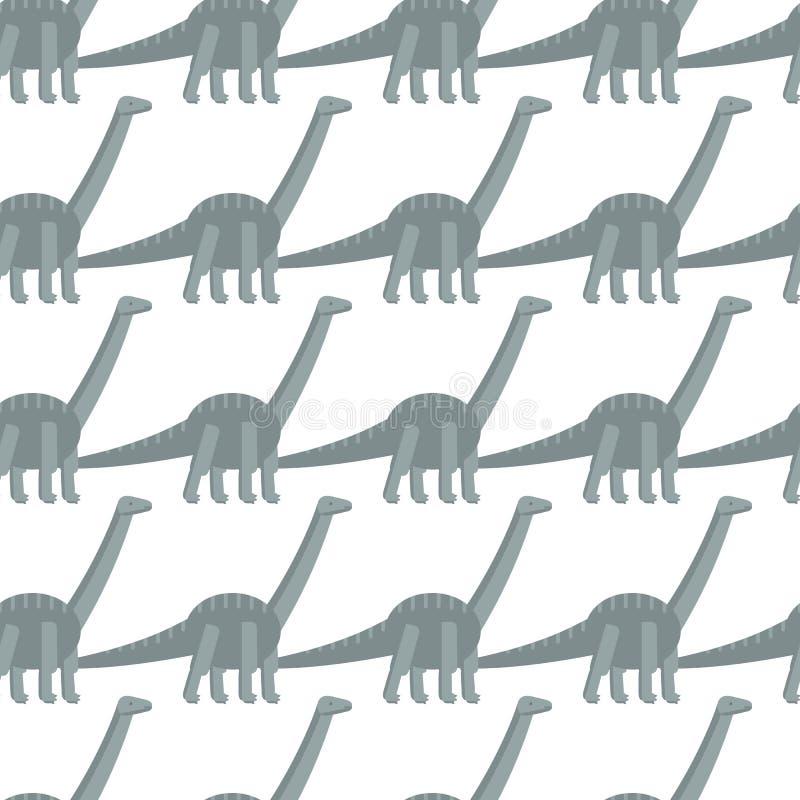 Teste padrão sem emenda com ícone liso simples do estilo do Diplodocus Fundo com dinossauro ilustração royalty free