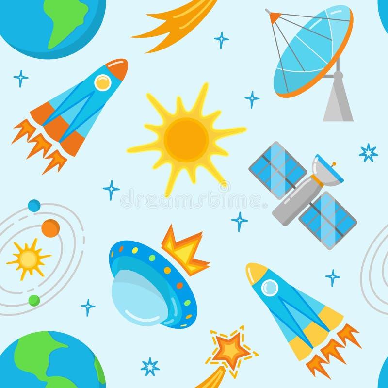 Teste padrão sem emenda com ícones brilhantes do espaço no estilo liso ilustração do vetor