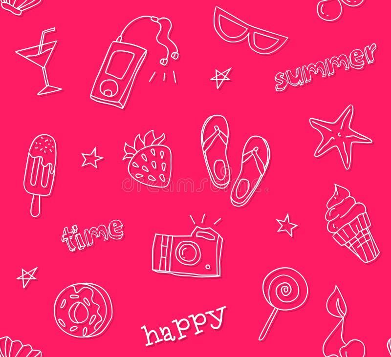 Teste padrão sem emenda com ícones da tatuagem do contorno Estilo do moderno Ornamento para a matéria têxtil e o envolvimento Fun ilustração do vetor