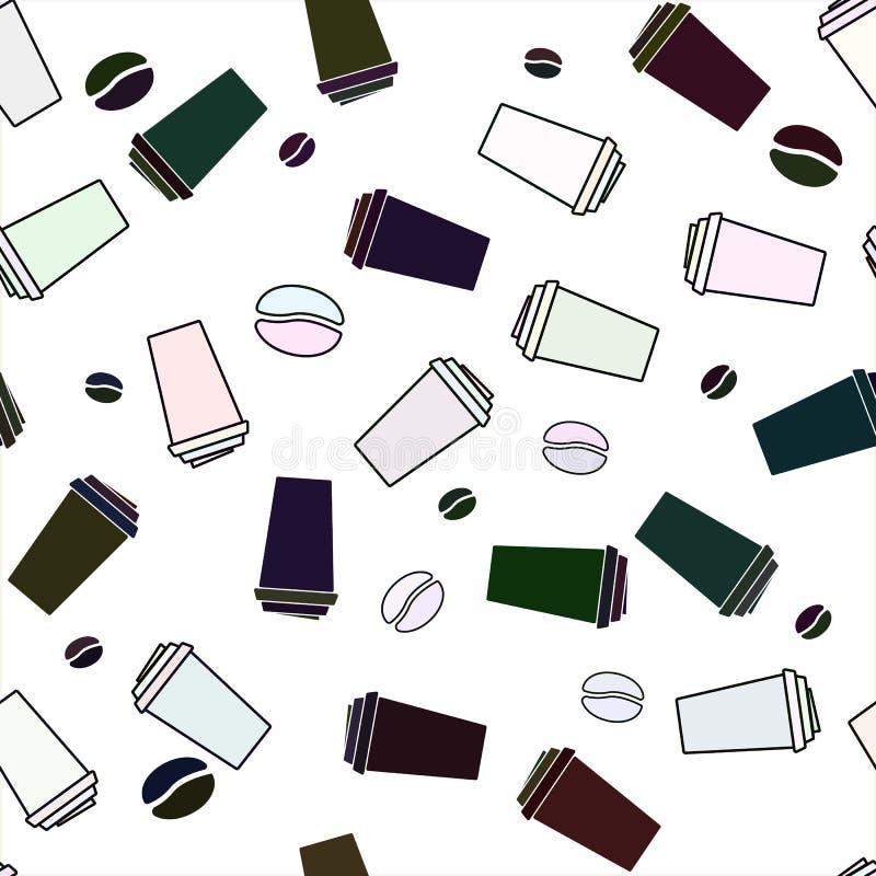 Teste padrão sem emenda com ícones do café e do chá Ilustração do estoque do vetor, EPS 10 ilustração do vetor