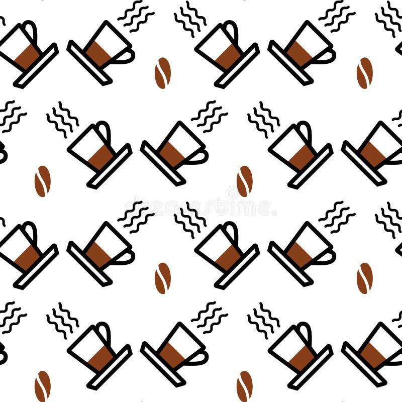 Teste padrão sem emenda com ícones lineares Fundo simples com ?up, café, vapor e uma grão do café ilustração royalty free