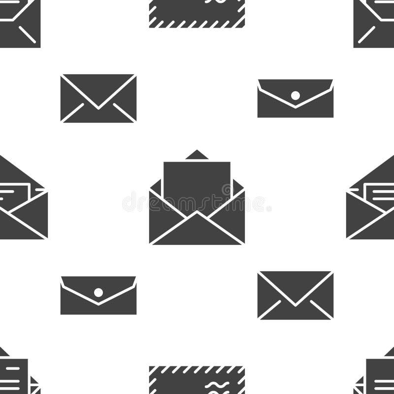 Teste padrão sem emenda com ícones lisos do glyph dos envelopes Fundo do correio, mensagem, envelope aberto com letra, vetor do e ilustração stock