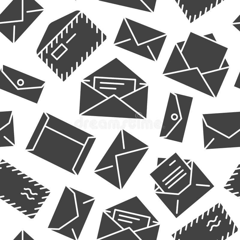 Teste padrão sem emenda com ícones lisos do glyph dos envelopes Fundo do correio, mensagem, envelope aberto com letra, vetor do e ilustração royalty free