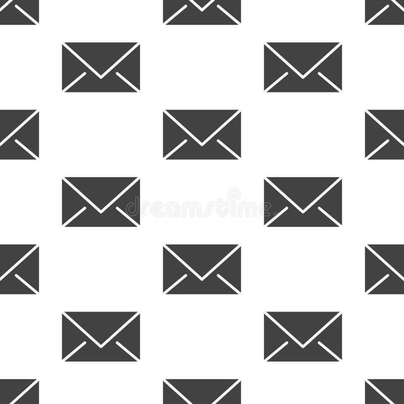 Teste padrão sem emenda com ícones lisos do glyph dos envelopes Fundo do correio, mensagem, ilustrações do vetor do e-mail Branco ilustração stock