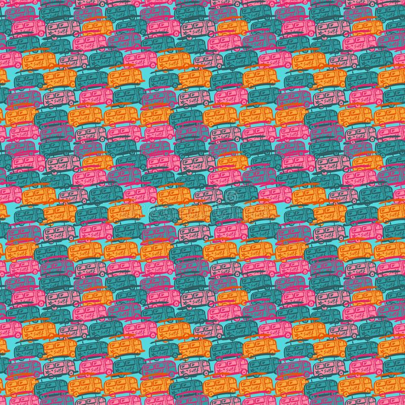 Teste padrão sem emenda com ônibus multi-coloridos ilustração stock