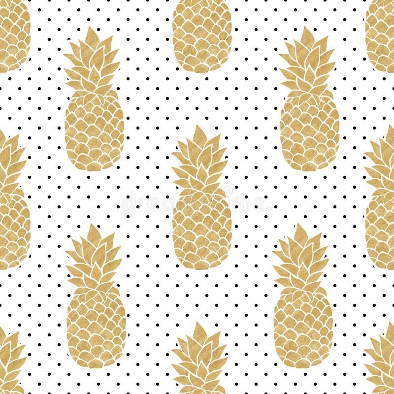 Teste padrão sem emenda com abacaxis do ouro ilustração royalty free