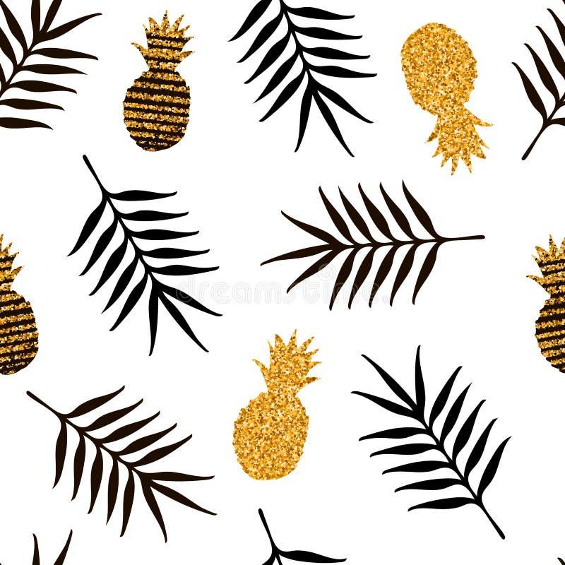 Teste padrão sem emenda com abacaxis do ouro e as folhas tropicais pretas ilustração stock