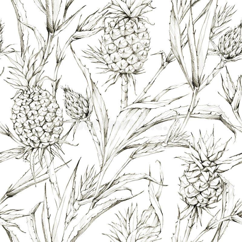 Teste padrão sem emenda com abacaxis e folhas Ilustração tropical do gráfico do verão Textura botânica em máscaras bege imagem de stock royalty free