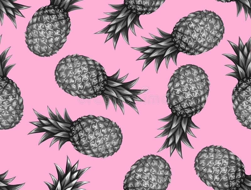 Teste padrão sem emenda com abacaxis Fundo abstrato tropical no estilo retro Fácil de usar para o contexto, matéria têxtil ilustração do vetor