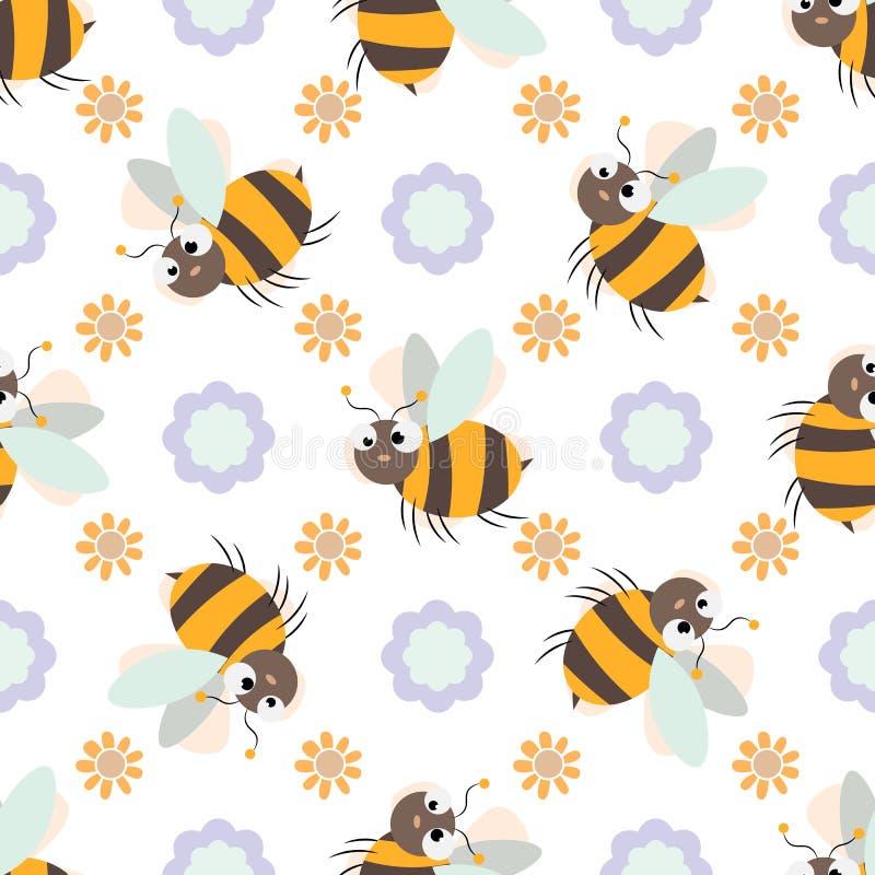 Teste padrão sem emenda com a abelha e a flor bonitos amigáveis dos desenhos animados ilustração do vetor