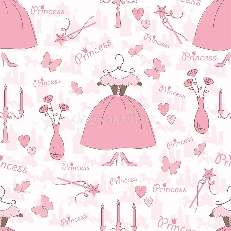 Teste padrão sem emenda com acessórios de uma princesa ilustração royalty free