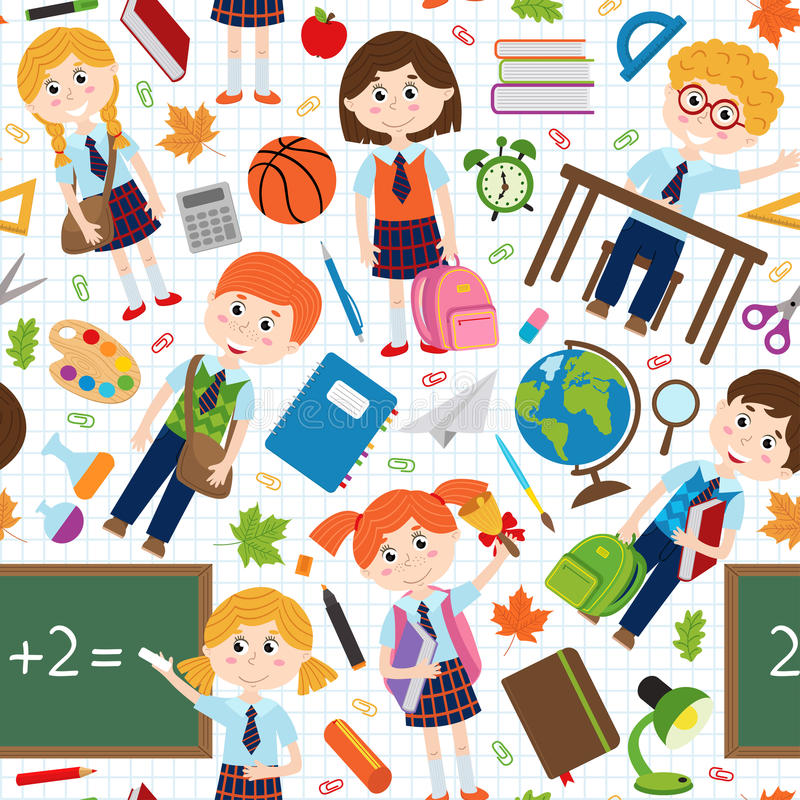 Teste padrão sem emenda com alunos e fontes de escola ilustração do vetor