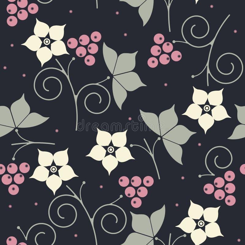 Teste padrão sem emenda com amora-preta, folhas e flores ilustração royalty free