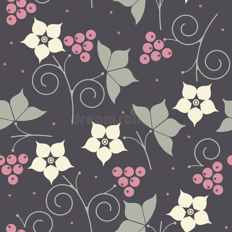Teste padrão sem emenda com amora preta, folhas e flores no CCB roxo ilustração royalty free