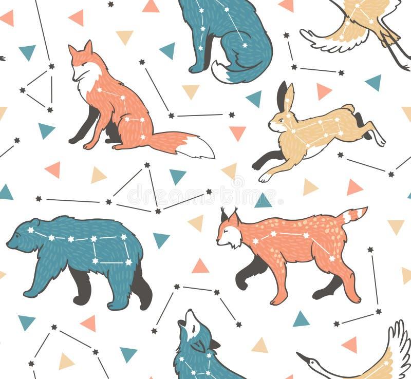 Teste padrão sem emenda com animais da estrela Fundo do moderno do vetor com céu da estrela ilustração stock