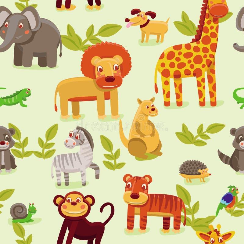 teste padrão sem emenda com animais dos desenhos animados ilustração royalty free