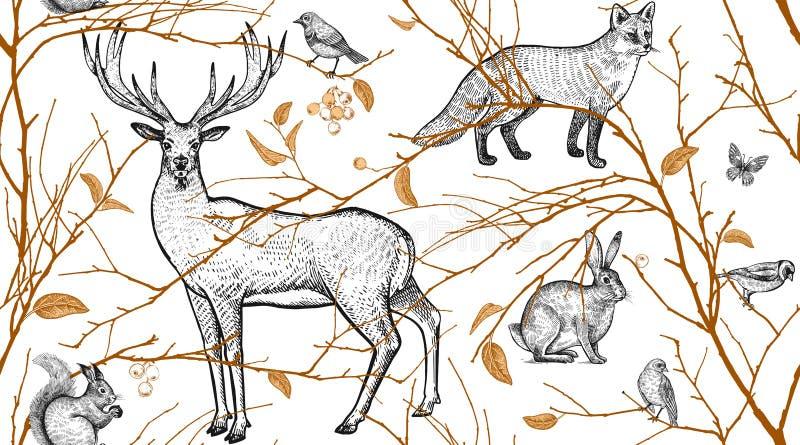 Teste padrão sem emenda com animais, pássaros e ramos de árvore ilustração do vetor