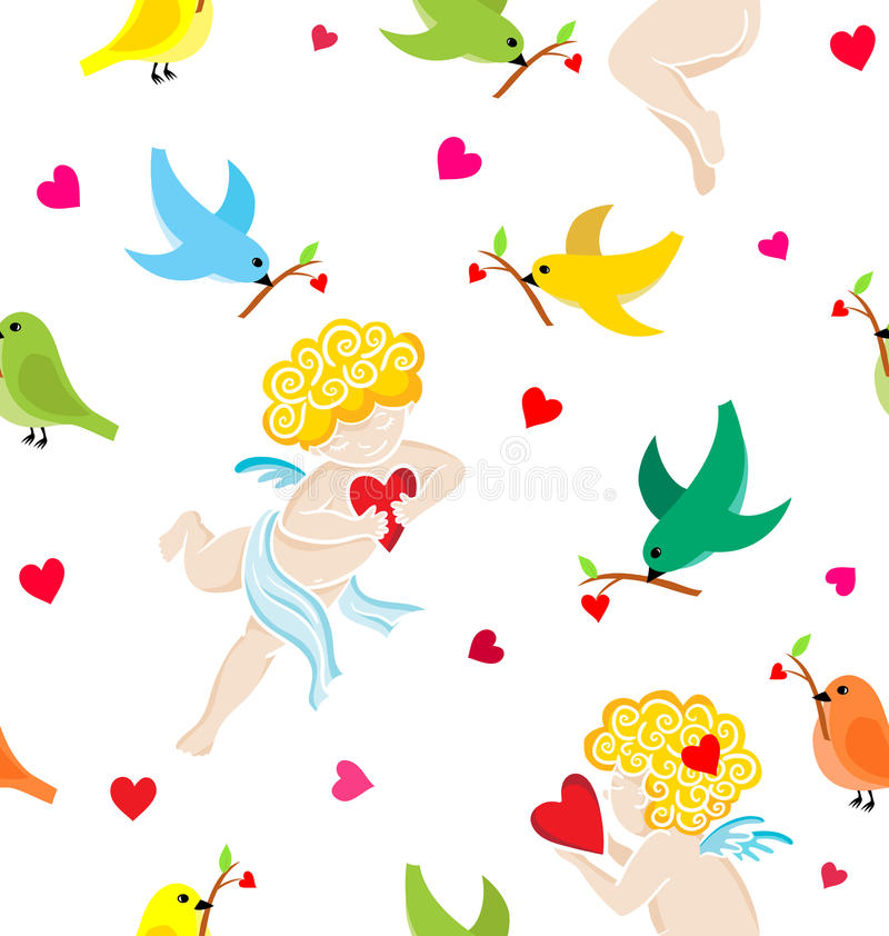 Teste padrão sem emenda com anjos tirados mão com coração ilustração royalty free