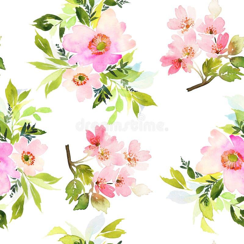 Teste padrão sem emenda com aquarela das flores ilustração royalty free