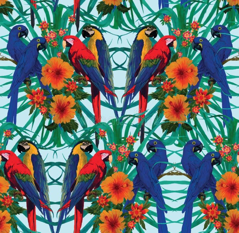 Teste padrão sem emenda com araras, flores e folhas de palmeira ilustração royalty free