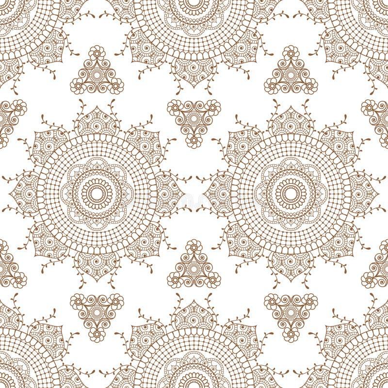 Teste padrão sem emenda com artigos florais da decoração do buta do laço da hena do mehndi marrom no estilo indiano ilustração stock