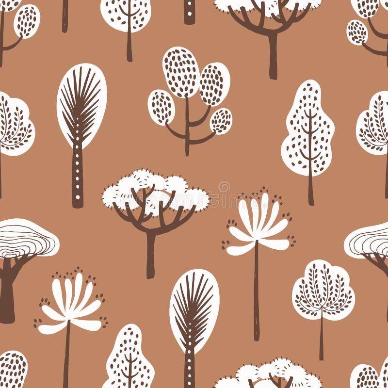 Teste padrão sem emenda com as árvores tiradas vária mão no fundo marrom Contexto com flora da floresta Vetor colorido ilustração do vetor