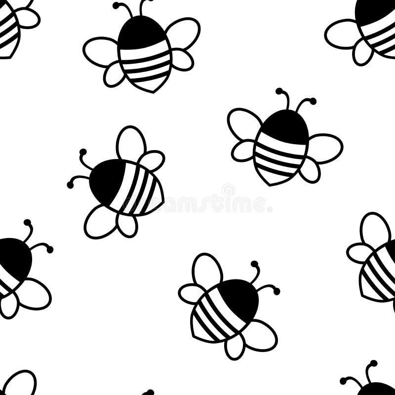 Teste padrão sem emenda com as abelhas bonitos pretas Ilustração do vetor ilustração do vetor