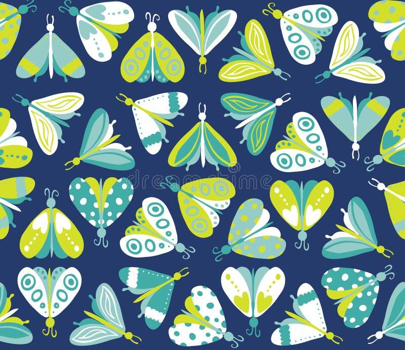 Teste padrão sem emenda com as borboletas bonitas diferentes ilustração royalty free