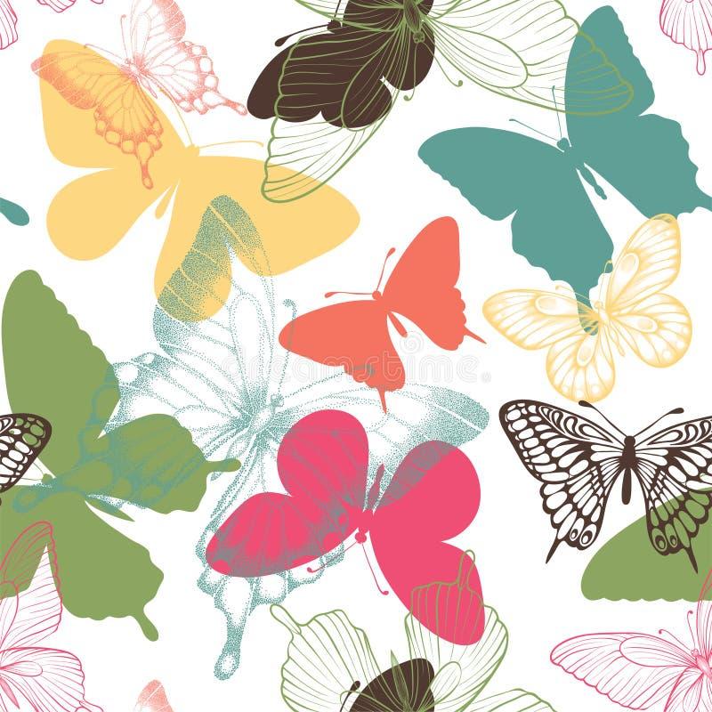 Teste padrão sem emenda com as borboletas decorativas no estilo escandinavo projete o cartão e o convite do casamento, aniversári ilustração stock