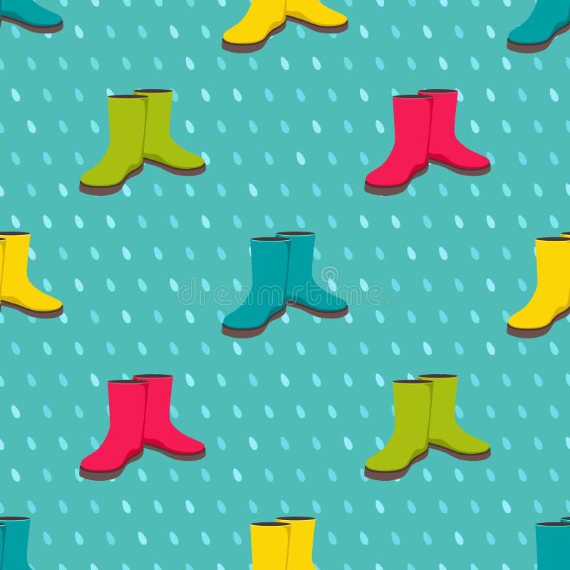Teste padrão sem emenda com as botas de chuva coloridas ilustração royalty free