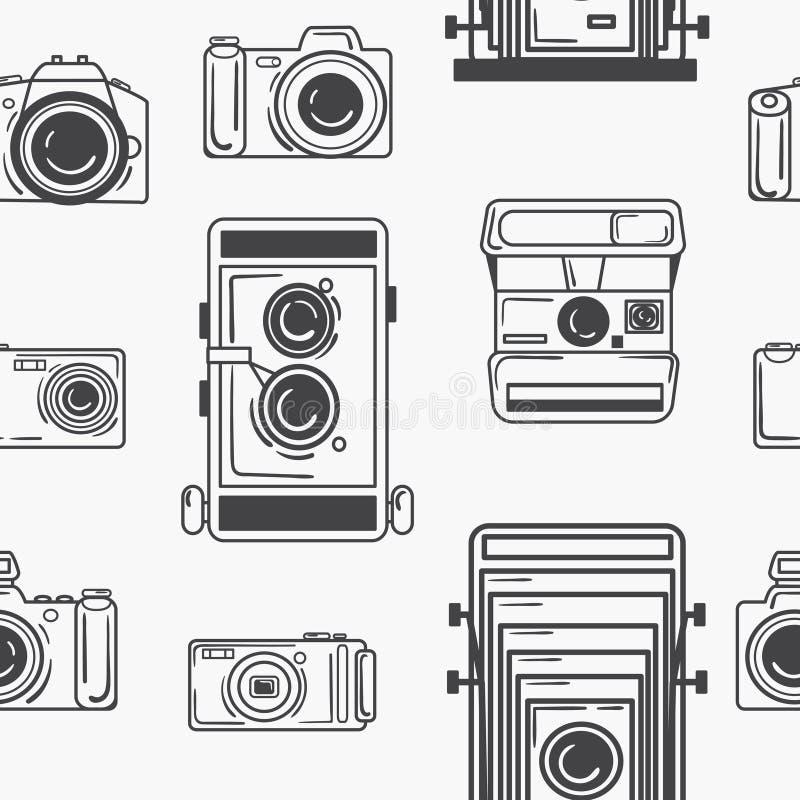 Teste padrão sem emenda com as câmeras digitais e retros Cópia branca preta para a tela Fundo sem emenda para a Web ilustração stock