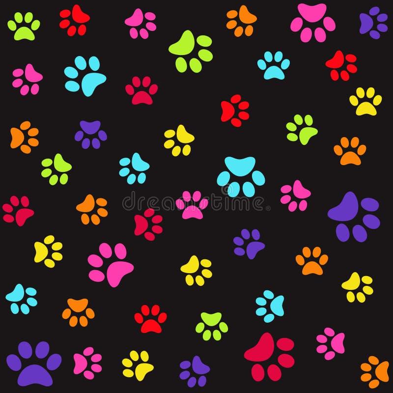 Teste padrão sem emenda com as cópias coloridas do pé animal, patas ilustração stock