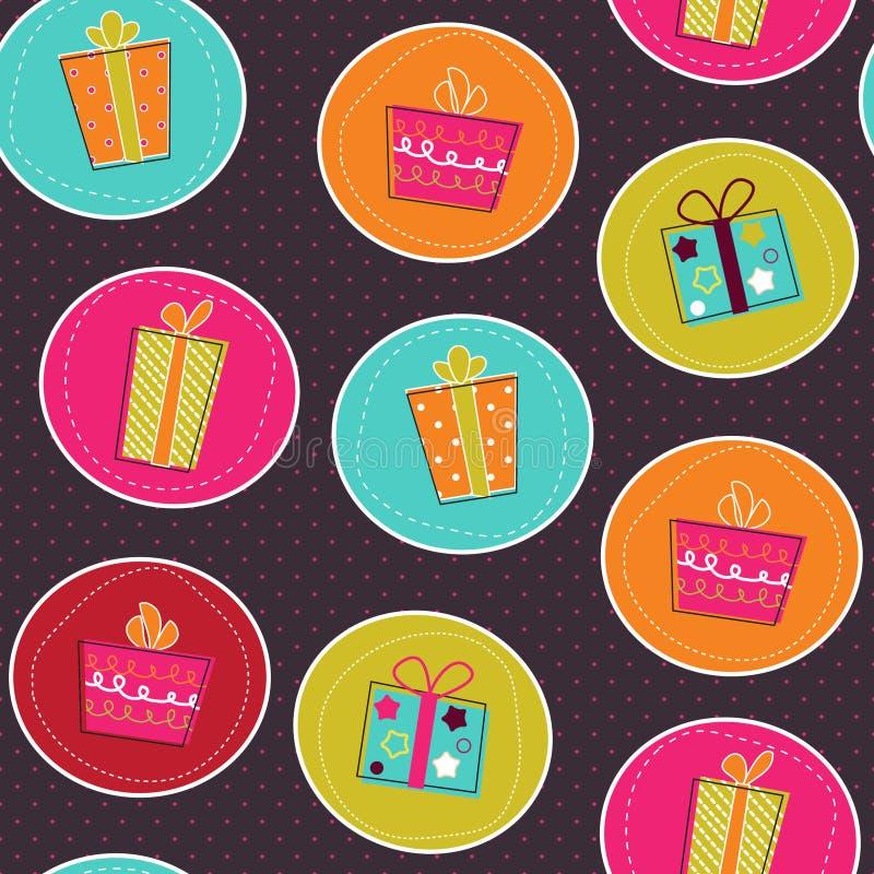 Teste padrão sem emenda com as caixas de presente brilhantes ilustração royalty free