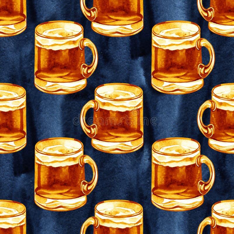 Teste padrão sem emenda com as canecas da aquarela de cerveja, ornamento das bebidas do álcool, o fundo o mais oktoberfest, ilust imagens de stock royalty free