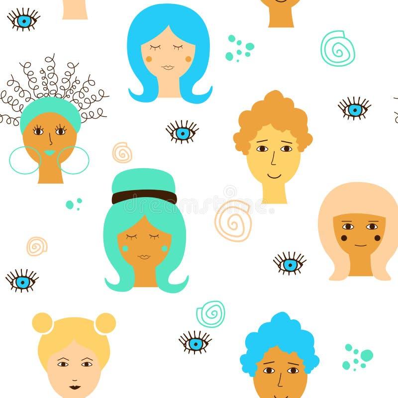 Teste padrão sem emenda com as caras fêmeas da afiliação étnica diferente em um fundo do waite Desenho do vetor para o dia das mu ilustração do vetor