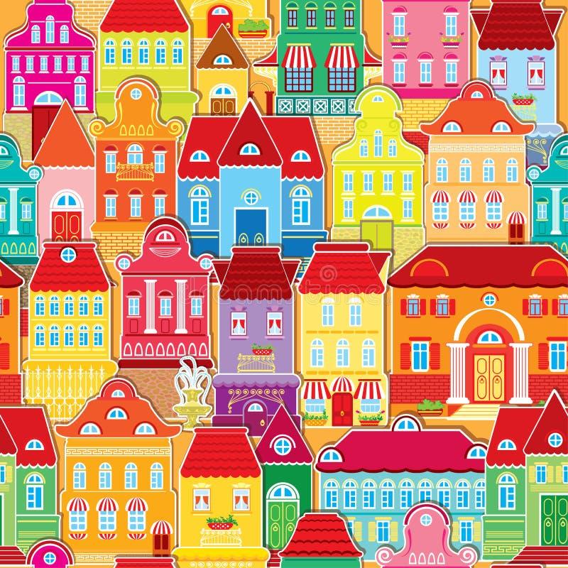 Teste padrão sem emenda com as casas coloridas decorativas