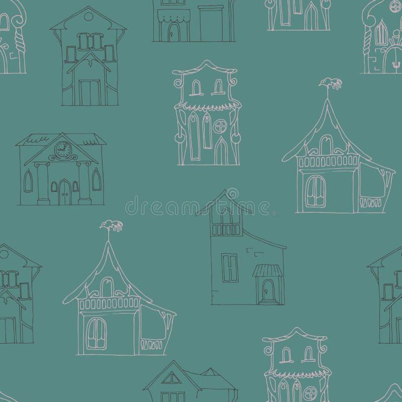 Teste padrão sem emenda com as casas desenhados à mão de estilos diferentes em um fundo do marrom escuro ilustração stock
