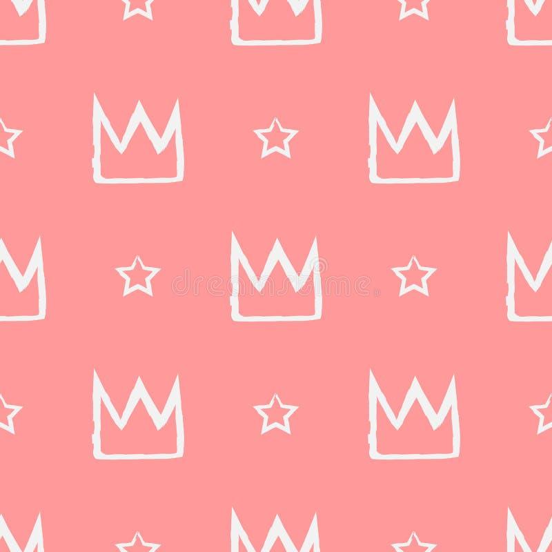 Teste padrão sem emenda com as coroas e as estrelas pintadas com uma escova ilustração royalty free