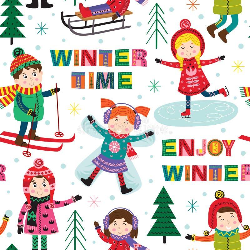 Teste padrão sem emenda com as crianças no tempo de inverno ilustração do vetor