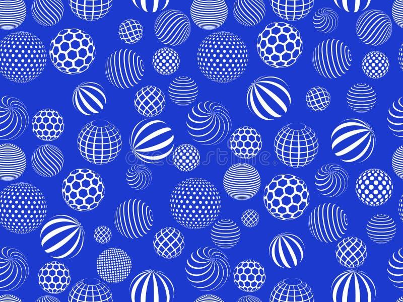 Teste padrão sem emenda com as esferas no contexto azul ilustração do vetor