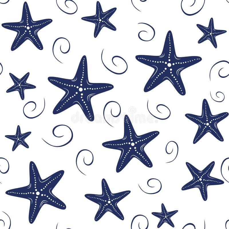 Teste padrão sem emenda com as estrelas de mar tiradas mão, onda do mar do vetor, gotas em cores da marinha no fundo branco ilustração stock