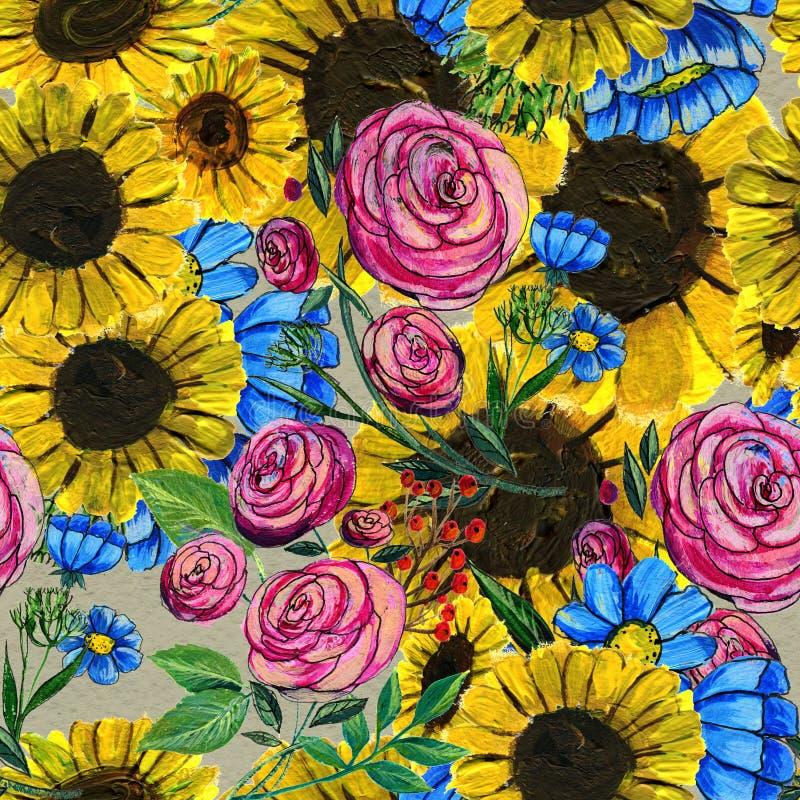 Teste padrão sem emenda com as flores amarelas e cor-de-rosa azuis ilustração royalty free