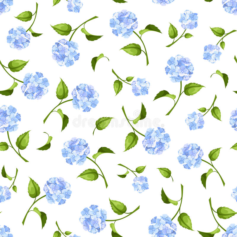 Teste padrão sem emenda com as flores azuis da hortênsia Ilustração do vetor ilustração royalty free