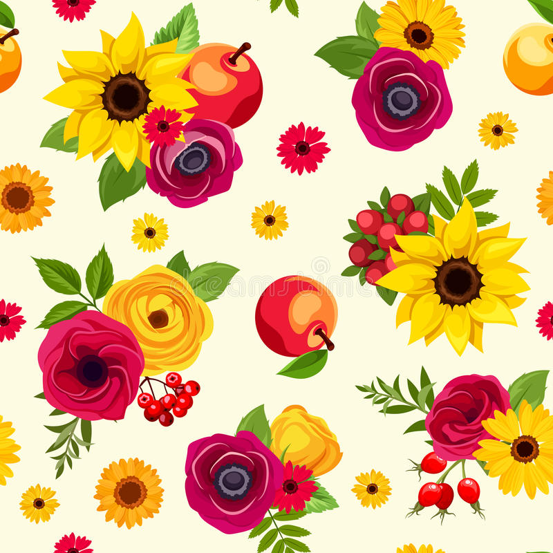 Teste padrão sem emenda com as flores coloridas do outono Ilustração do vetor ilustração royalty free