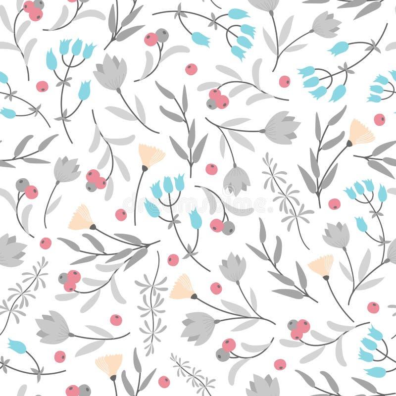 Teste padr?o sem emenda com as flores coloridas pequenas, folhas cinzentas no fundo branco ilustração royalty free
