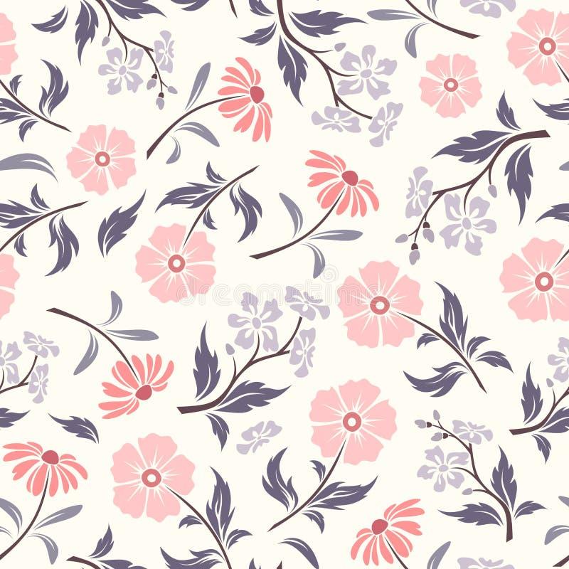 Teste padrão sem emenda com as flores cor-de-rosa e roxas Ilustração do vetor ilustração stock