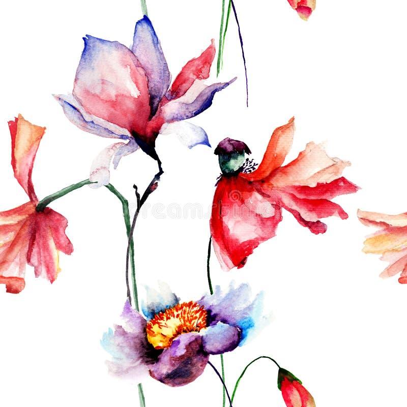 Teste padrão sem emenda com as flores das papoilas e da magnólia ilustração stock