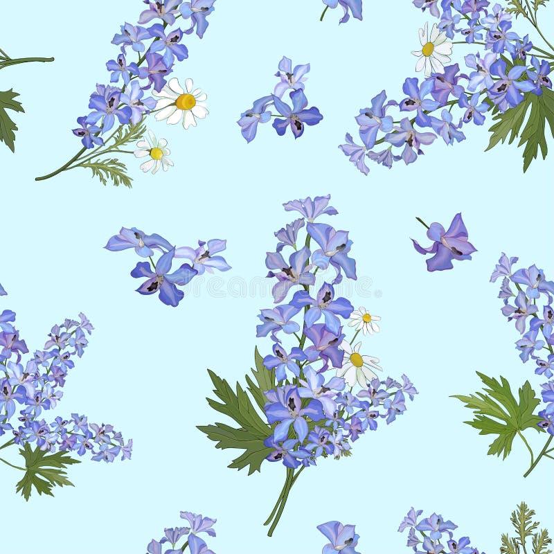 Teste padrão sem emenda com as flores do delfínio e as margaridas em um fundo azul Vetor ilustração stock