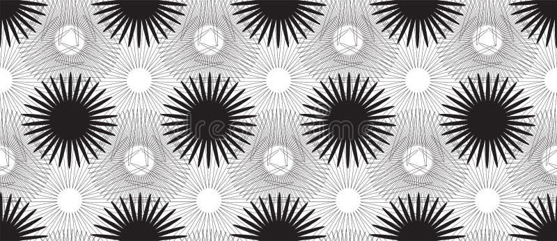 Teste padrão sem emenda com as flores estilizados pretas no fundo branco ilustração stock