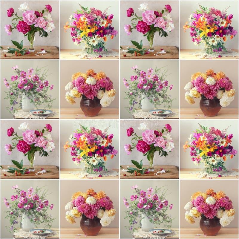 Teste padrão sem emenda com as flores no fundo claro bouquets imagem de stock